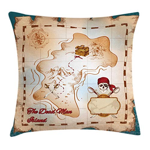 Ambesonne Island Map Throw Pillow Cushion Cover, Cartoon Pirate Treasure Map Crossbones and Skull Dead Man Island Kids Decoration, Decorative Square Accent Pillow Case, 18 X 18 Inches, Teal ()