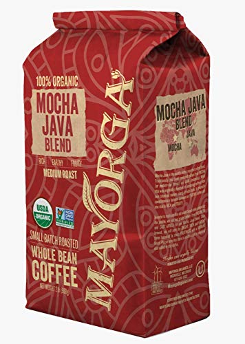 Mayorga 100% Organic Mocha Java Whole Bean Coffee, 2 Pounds