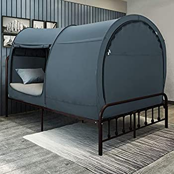Image of Bed Tent Dream Tents Bed Canopy Shelter Cabin Indoor Privacy Pop Up Warm Breathable Full Size for Kids and Adult Patent Pending PitchBlack(Mattress Not Included) Home and Kitchen