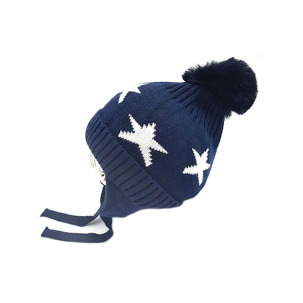 GUSTA Baby Boys Girls Cute Pom Beanie Cap Kids Star Printed Winter Warm Hat Toddler Knit Earflap Skull Hat