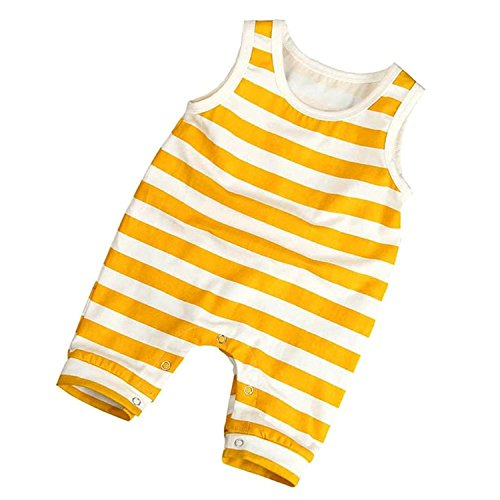 YOUNGER TREE Infant Toddler Baby Boys Girls Romper Sleeveless Yellow Stripe Print Jumpsuit Outfit Clothes (Yellow, 6-12 Months) ()