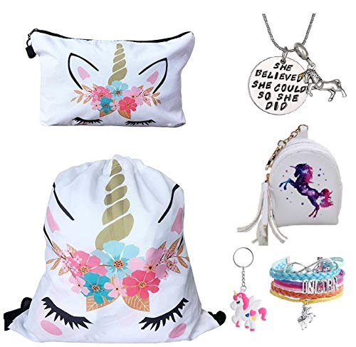 Fanovo Unicorn Drawstring Backpack/Make Up Bag/Necklace/Bracelet/Gift Sets for Girls Party Christmas (A - Drawstring Set J) -