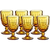 Colored Glass Goblet Vintage - Pressed Pattern Wine Glass Wedding Goblet - 8.5 Ounce (Amber)