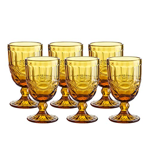 (Colored Water Goblet - 8.5 Ounce Vintage-inspired Pattern Glass Wedding Goblets set of 6-Solid Glass Color(Amber))