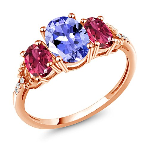 Rose Gold Tourmaline Ring (1.96 Ct Blue Tanzanite Pink Tourmaline AAA 10K Rose Gold Diamond Accent Ring)