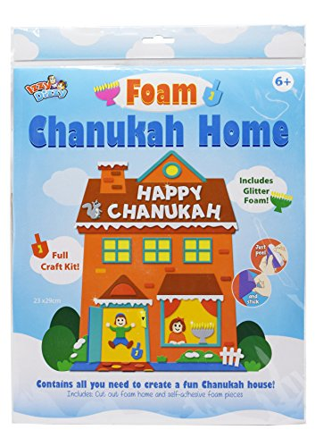 Foam Chanukah House Kit - Self Adhesive Peel and Stick Foam - Hanukah Arts and Crafts and Games by Izzy 'n' Dizzy