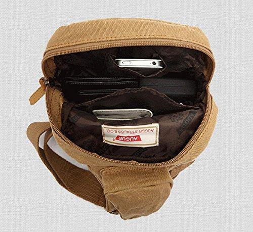 Izacu Nueva Mujer / Hombre Lienzo Vintage y Cuero Senderismo Mochila bolsa de viaje (khaki, 17*6*27CM) Khaki