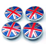 4pcs W146 60mm Emblem Badge Sticker Wheel Hub Caps Center Cover Flag UK BRITISH MINI JAGUAR COOPER