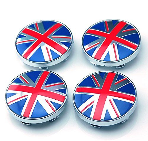 4pcs W146 60mm Emblem Badge Sticker Wheel Hub Caps Center Cover Flag UK BRITISH MINI JAGUAR COOPER by Benzy