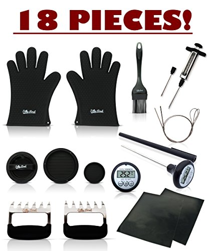 All-in-1 18-Piece Barbecue Grill Smoker Accessories Set: 2 Meat Shredder Claws / Forks, 2 Silicone Gloves, 2 Grill Mats, 2 Flexible Skewers, Thermometer, Basting Brush, Marinade Injector, Burger (Cob Smoked Bacon)