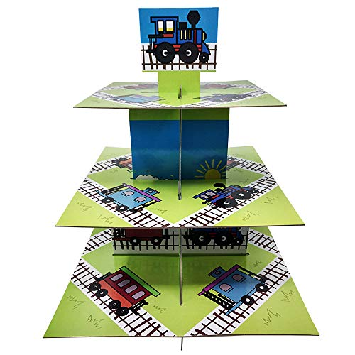 Train Cake Kit - Train Cupcake Stand & Pick Kit, Train Party Supplies, Train Decorations, Birthdays, Cake Decorations, Kids Birthdays, 3 Tier Cardboard