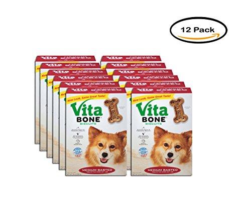 PACK OF 12 - Vita Bone Medium Basted Dog Biscuits 24 oz. Box by Vita Bone