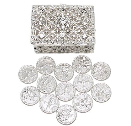 Wedding Unity Coins - Arras de Boda - Chest Box and Decorative Rhinestone Crystals Keepsake (Arras Box)