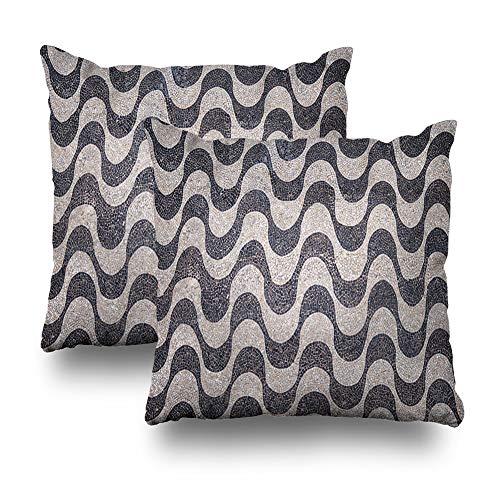 Kutita Set of 2 Decorative Pillow Covers 18 x 18 inch Throw Pillow Covers, Copacabana Beach Mosaic Pattern Top View Rio De Janeiro Brazil Pattern Double-Sided Decorative Home Decor Pillowcase