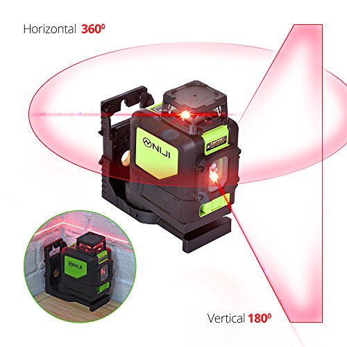 Laser Level Self Leveling USA Professional 150-ft Red Beam Cross Line 360 Degree Horizontal and Vertical Line with Magnetic Pivoting Base, 2 Full Time Pulse Modes, IP54 Water and Dust Resistant by Niji