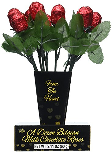 One Dozen Belgian Milk Chocolate Roses in Gift Box for sale  Delivered anywhere in USA