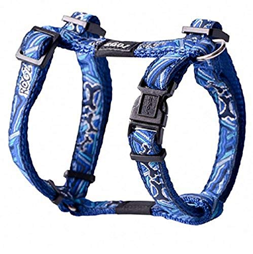 Premium Pattern Ribbon Designer Adjustable H Harness for Small Dogs; matching collar and leash available, Navy Zen Fresh…