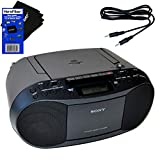 Sony CD Player Portable Boombox with AM/FM Radio & Cassette Tape Player + Auxiliary Cable for Smartphones, MP3 Players & HeroFiber Ultra Gentle Cleaning Cloth