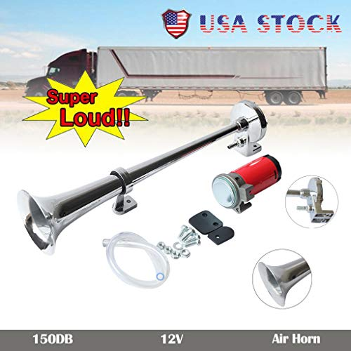 Clearance , Universal 150DB Loud Single Chrome Trumpet Kit Air Horn Compressor Truck Boat US by Little Story