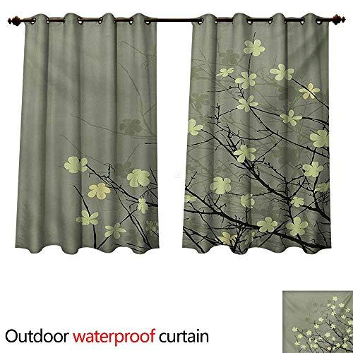 WilliamsDecor Japanese Outdoor Curtain for Patio Retro Stylized Flourishing Twiggy Eastern Blossoms Botanical Metaphoric Concept W72 x L72(183cm x 183cm)