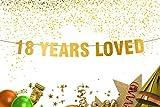 18th birthday banner -18th birthday decorations - 18 Years Loved - Gold Banner - 18th Birthday Party - Birthday Banner - Eighteen Banner - 18th Party Decorations -18th Party Banner-anniversary decor