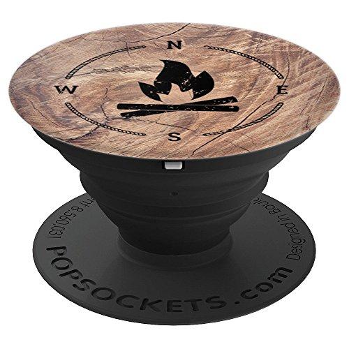 Campfire Compass Woodgrain Print Hiking Gift -