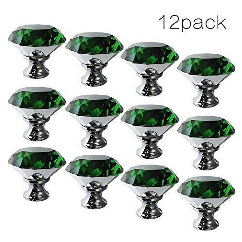 CSKB Green 12PCS 40mm Diamond Shape Crystal Glass Door Knob Drawer Pull Handle For Cabinet Cupboard Wardrobe