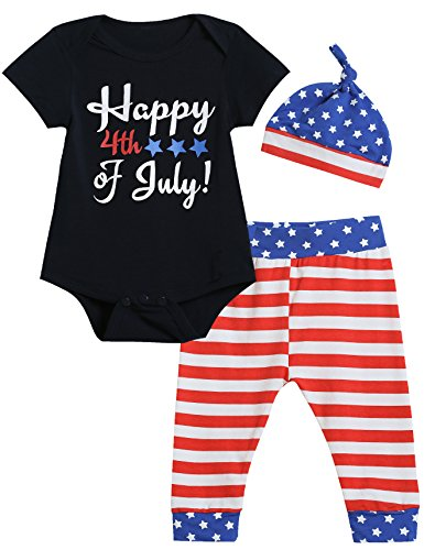 Baby Boys Girls 3PCS Outfit Set Bodysuit USA Flag Shorts with Hat (Blue02, 0-3 -