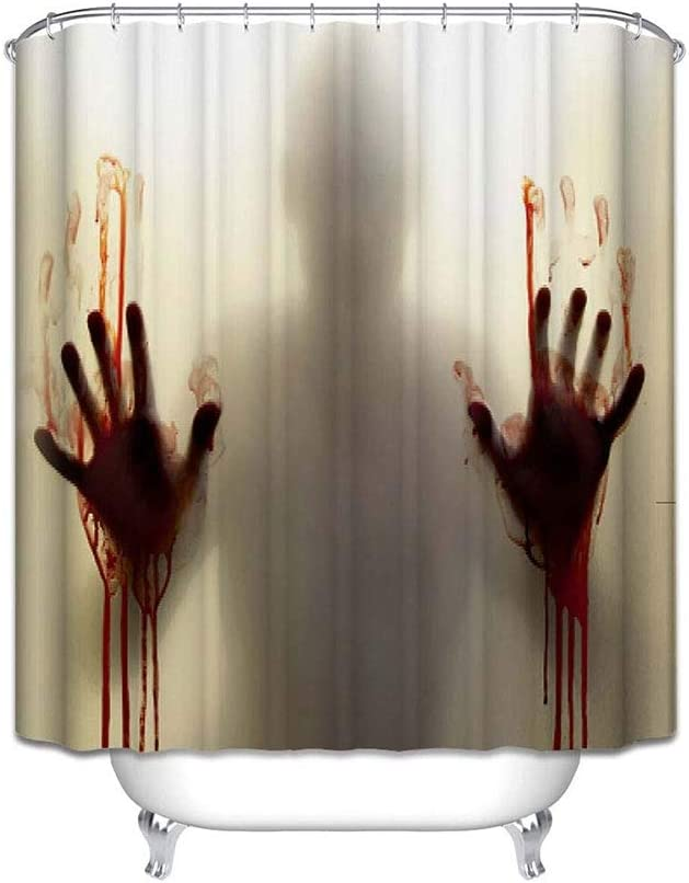EVINIS Halloween Shower Curtain - Horror Bloody Hands Bathroom Shower Curtains with Hooks for Halloween Decoration, 65x72 Inches (Horror Bloody Hands)