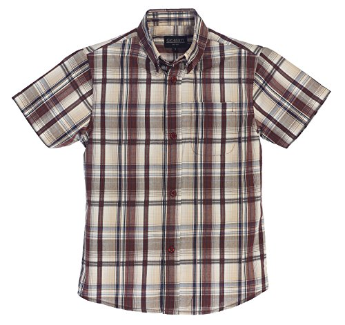 Tan Boys Shirt (Gioberti Big Boys Plaid Short Sleeve Shirt, Burgundy / Tan, Size 12)