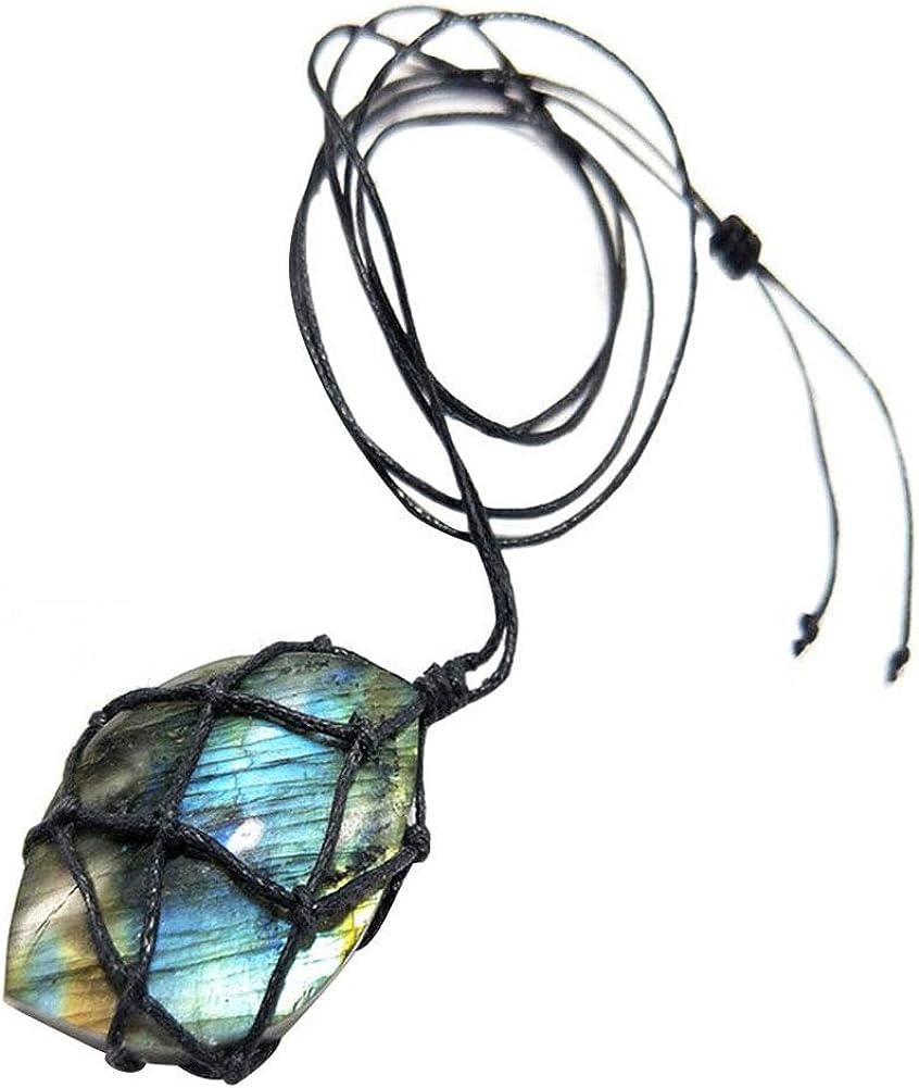 Collar Macrame De Piedra Natural Colgante En Forma De Corazón Dragones Yoga Labradorita Collar Trenzado De Gotas Colgantes Energía De Mujeres De Los Hombres De
