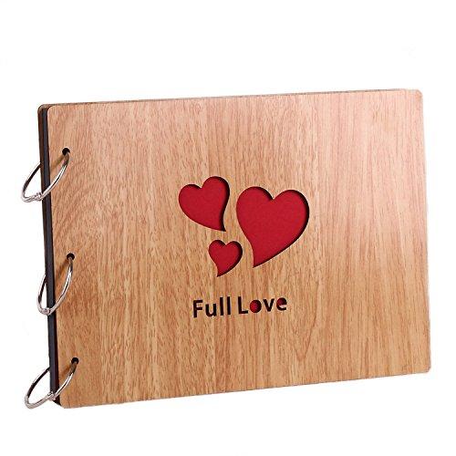 11 x 8 inch DIY Wood Cover Photo Album Self Adhensive Black Cards Scrapbook Album,30 Sheets (Full Love)