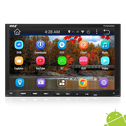 """Pyle Double Din Android - Touchscreen in-Dash DVD/CD Player with GPS Navigation, 7"""" Monitor Head Unit Receiver, Wireless Bluetooth, USB/Micro SD Card Slot, Am FM Radio and RCA to Aux Input"""