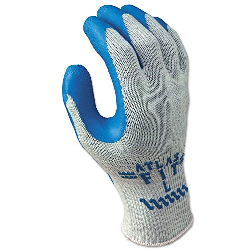 (SHOWA 300XL-10 Atlas Fit 300 Rubber-Coated Gloves, XL, Gray/Blue (Pack of 12))