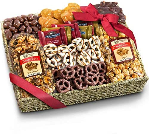 Chocolate Caramel and Crunch Grand Gift Basket for Christmas Holiday, Snack, Business and Family