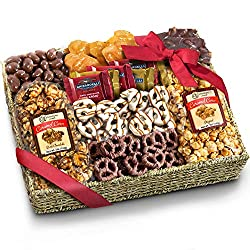An ideal gift for any occasion filled with two crisp caramel corns - traditional and chocolate drizzled, plus lots of crunchy chocolate covered and caramel treats, all in a keepsake high-quality seagrass basket, tied with a gift ribbon. Every inch of...