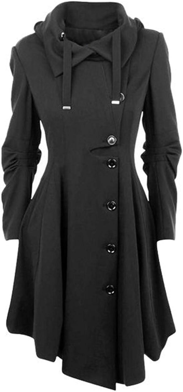 HANMAX Damen Wintermantel Lange Mantel Jacke Button Asymmetrical Winter Windbreaker Parka Outwear