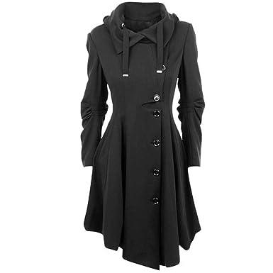 Hanmax Damen Wintermantel Lange Mantel Jacke Button Asymmetrical