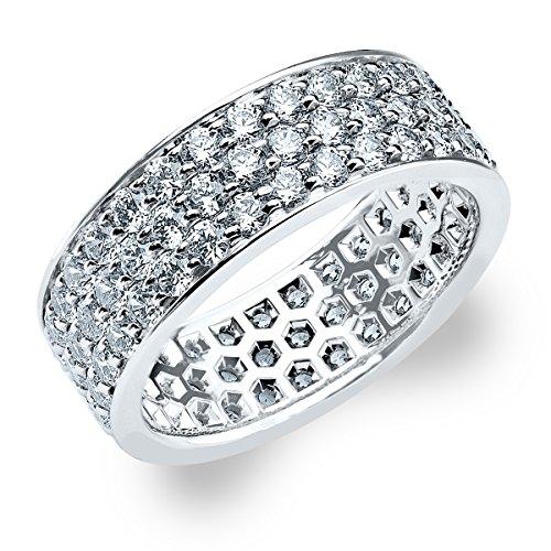 14K White Gold Diamond 3-Row Eternity Ring (1.5 cttw, F-G Color, VS1-VS2 Clarity) Size 6