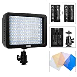 ESDDI 160 LED Dimmable Panel Video Light,Protable Camcorder Photography Light with 2 Pcs Rechargeable Batteries and a Charger ,LED Light for Sony, Canon,Pentax,Panasonic, Olympus Digital SLR Cameras