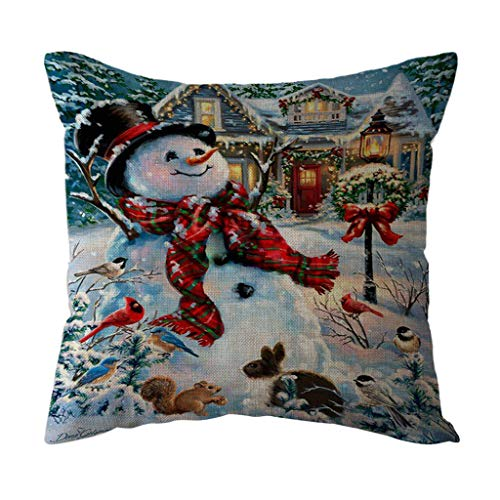 Seaintheson Christmas Throw Pillow Cover, Xmas Snowman Santa Claus Print Home Decoration Office Sofa Geometric Design Cushion Square Pillowcase Cover 18