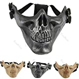 CAMTOA Tactical Mask Protect Face Cover Skull Skeleton Airsoft Paintball Half Face Protect Mask Protect Gear Mask Guard For Halloween, Hunting Game, CS Black