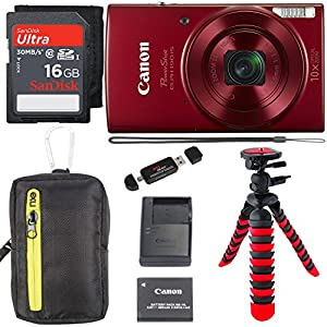 Canon PowerShot ELPH 190 Digital Camera 10x Optical Zoom IS Wi-Fi NFC Enabled (Red), SanDisk Ultra 16GB, Camera Case and Premium Accessory Bundle