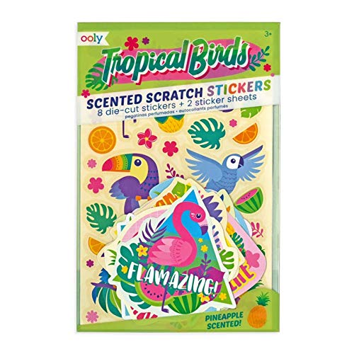 (OOLY, Tropical Birds Scented Stickers - 2 Sticker Sheets + 8 Jumbo Stickers)