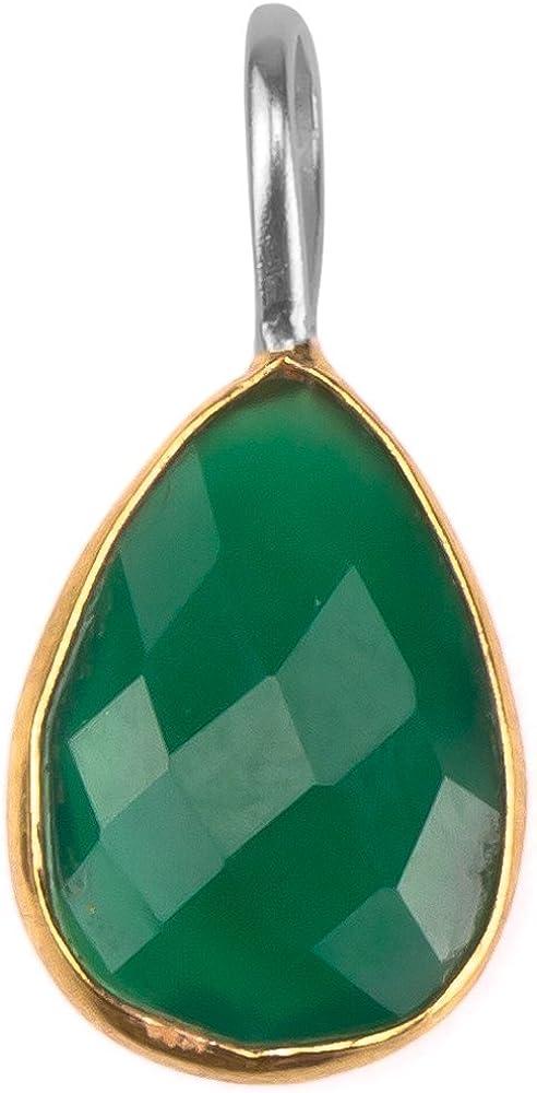Colgante de Chic-Net gota plateados ónix verde facetado plata esterlina 925