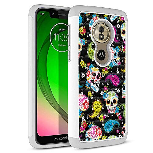 FINCIBO Case Compatible with Motorola Moto G7 Play 5.7 inch, Dual Layer Shock Proof Hybrid Protector Case Cover TPU Rhinestone Bling For Moto G7 Play (NOT FIT G7 / G7 Plus) - Colorful Sugar Skulls