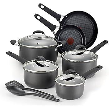 T-fal E817SC Endura Hard Anodized Titanium Nonstick Dishwasher Safe Cookware Set, 12-Piece, Black