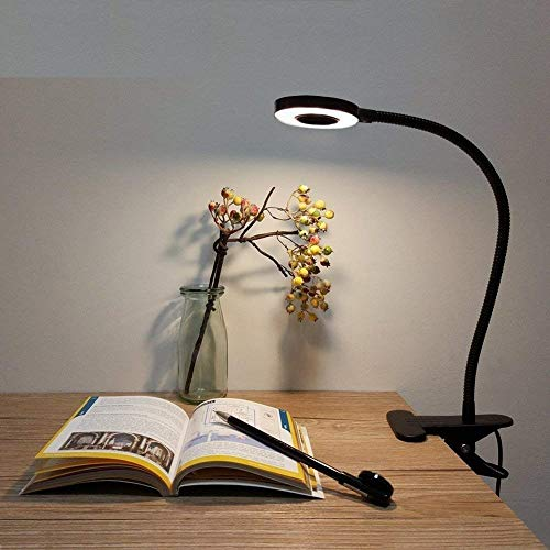 LED Desk Lamp, Adjustable 2 Mode & 2 Level Cold/Warm Light, Natural Light Switch Clip Desk Light Bulb Clamp Flexible Gooseneck 360 Degree for Learning, Reading, Working