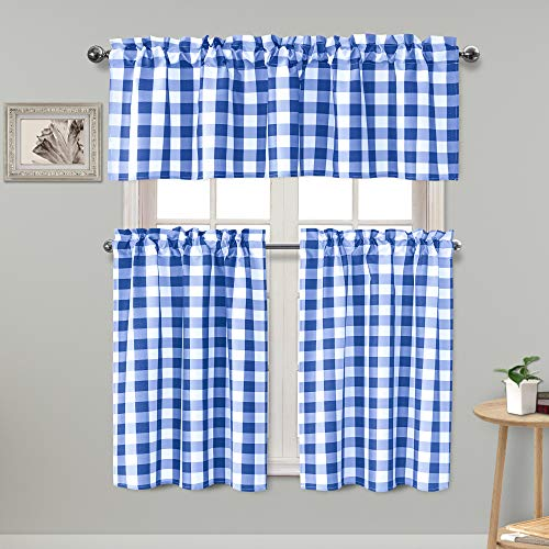 Homedocr Semi Sheer Plaid Tier and Valance Curtains Set Energy Efficient and Thermal Insulated Kitchen Curtains, Royal Blue, Set of 3 ()