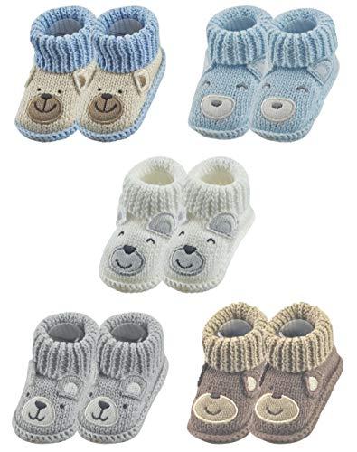 RATIVE Handmade Baby Booties Crochet for Unisex Newborn Boy Girl (Newborn 0-3 Months, 5-Pairs/Assorted boy)